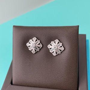 KENDRA SCOTT Brushed Nickel Silver Géo Earrings